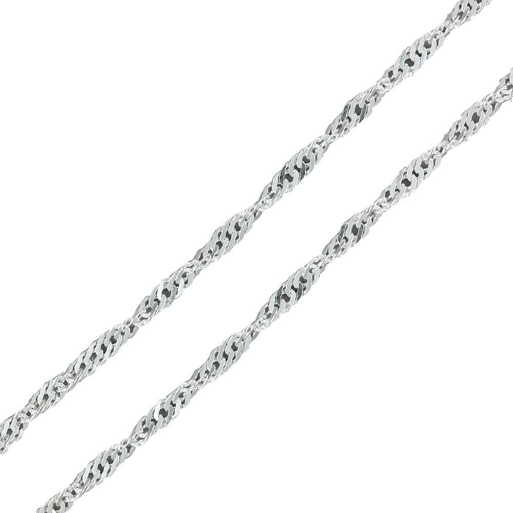 Cadenas De Oro Italiano 14k: Cadena De Plata Estilo Singapur 50cm X 1mm
