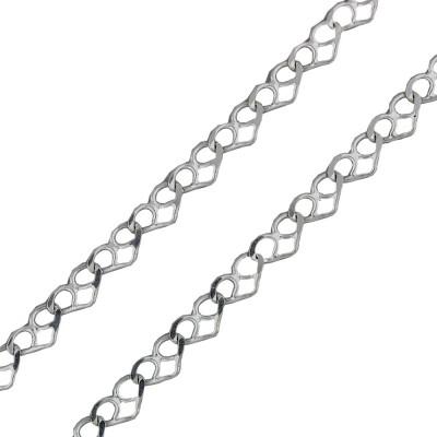 2ce96c57cac8 Collar de plata eslabón de corazones 40cm x 3mm
